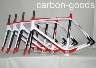 Carbon Red White Glossy Road Bike Bicycle Frameset Racing Bike Frame