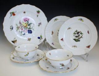 Mix Lot of c1950s Herend Porcelain Rothschild Bird Pattern