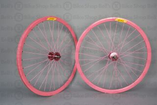 Velocity Deep V Track Wheels Solid Pink Fixed Gear