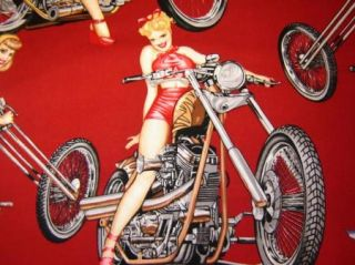 Fabric Henry Hot Wheels Vintage Motorcycle Pinup Girls Retro Red
