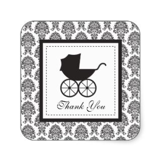 Vintage Damask Baby Carriage Baby Shower Sticker