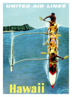 United Airlines, Hawaii Outrigger Giclee Print