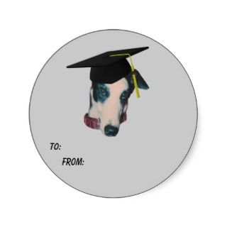 Greyhound Graduation Cap Dog Gift Tag Sticker