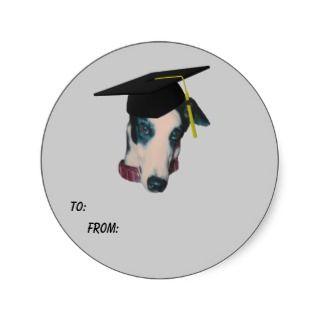 Greyhound Graduation Cap Dog Gift Tag Sticker