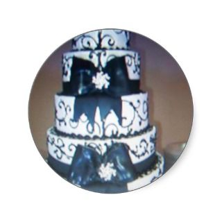 black and white wedding cake round stickers