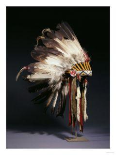 A Fine Sioux War Bonnet, Sewn with Twenty Nine Eagle Feathers Giclee Print