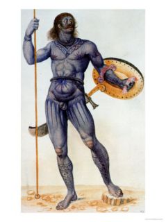 Pictish Man Holding a Shield Giclee Print by John White