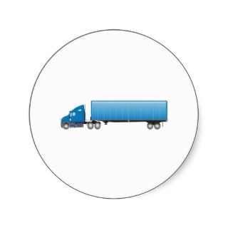 Semi Truck Trailer Blue Sticker