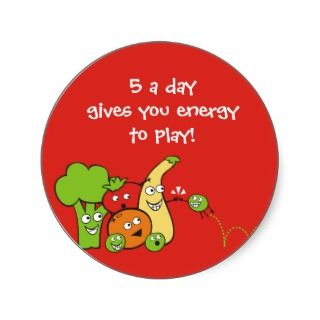 funny veggies fruits high five gift tags stickers