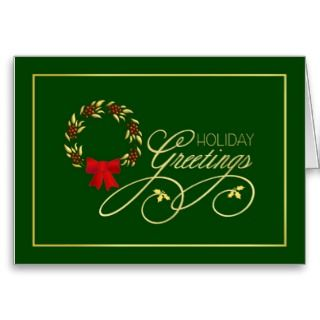 Holiday Wreath   Elegant Christmas Greeting Cards