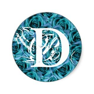 Monogram Letter D Blue Roses Sticker