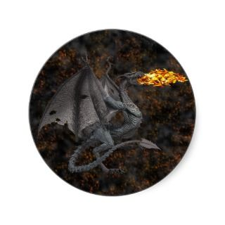 Fire Breathing Dragon Round Stickers