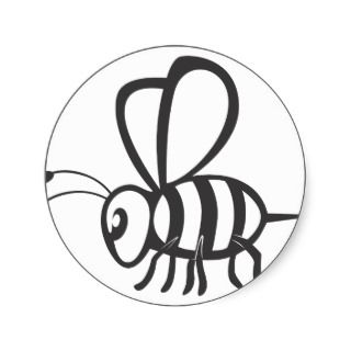Cool Bee Black Outline Logo Tattoo Shirt Stickers