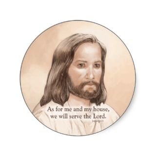 Sepia Jesus Art Bible Quote   Joshua 24:15 Round Stickers