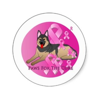 German Shepherd Dog Pink Ribbon Round Sticker
