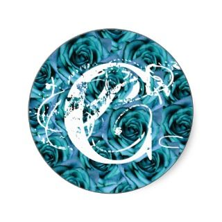 Monogram Letter C Blue Roses Sticker
