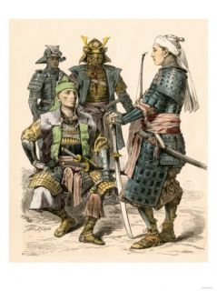 Japanese Samurai Warriors in Full Armor Giclee Print