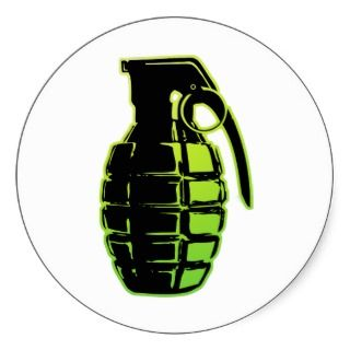Hand Grenade   green Round Sticker