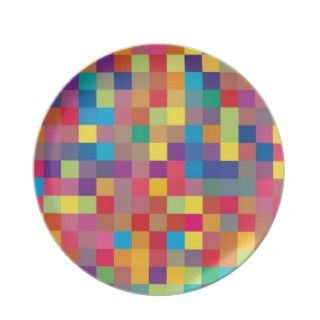 Pixel Rainbow Square Pattern Party Plate