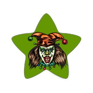 Mentally Unstable Evil Clown Star Sticker