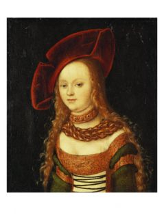 Portrait of a Young Girl, Half Length, Wearing Green and Gold Costume with a Red Hat Giclee Print by Lucas Cranach the Elder