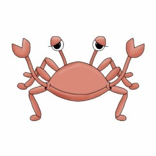Cute Red Beach Crab Cartoon Character Design Photo Cut Outs