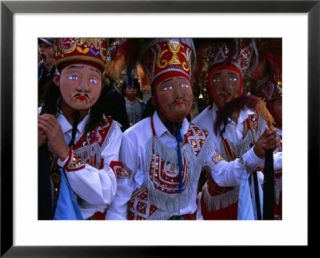 Costumed Dancers At The Fiesta De La Virgen Del Carmen, Pisac, Cuzco, Peru Pre made Frame