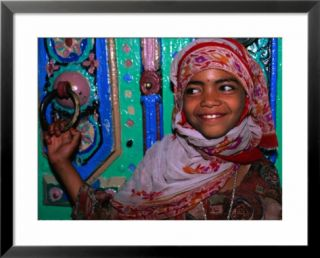 Young Girl About To Enter Mosque, Yifrus, Yemen Pre made Frame