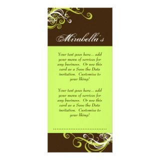 Rack Card Swirl Salon Spa Lime Green Brown