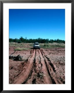 Landrover Driving Over Dry River Bed, Matusadona National Park, Mashonaland West, Zimbabwe Pre made Frame
