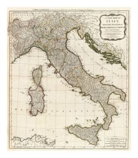 New Map of Italy with the Islands of Sicily, Sardinia and Corsica, c.1790 Print by Thomas Kitchin