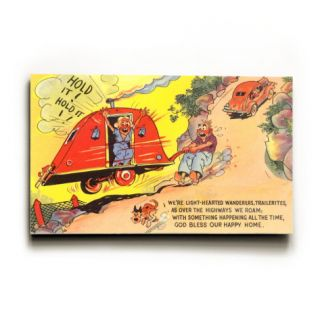 Travel Trailer Cartoon Wood Sign