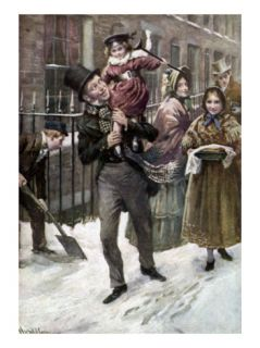 Charles Dickenss A Christmas Carol : portrait of Bob Cratchit and Tiny Tim Giclee Print by Harold Copping