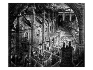 Slums of London, Engraving by Gustave Dore, 1850 Premium Poster