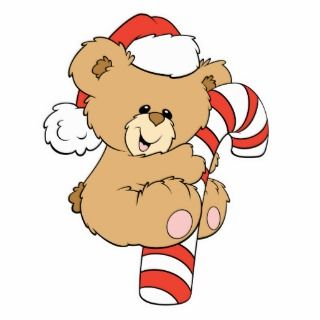 Cute Candy Cane Teddy Bear Cut Outs