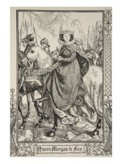 Queen Morgan le Fay, illustration, Stories of King Arthur and the Round Table by Beatrice Clay Giclee Print by Dora Curtis