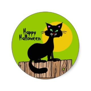Happy Halloween Black Cat Stickers