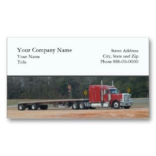 business card design showing a flatbed Semi truck. This can be used