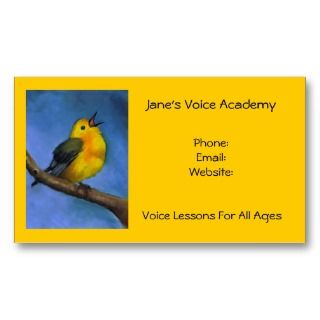 Art Voice Lessons, Calendar on Back Business Cards