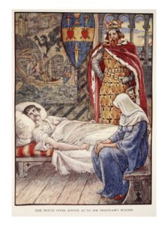 The Witch gives Advice as to Sir Tristrams Wound, from Stories of Knights of Round Table Giclee Print by Walter Crane