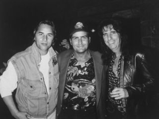 Don Johnson, Charlie Sheen and Alice Cooper Hanging Out at a Planet Hollywood Opening Premium Photographic Print