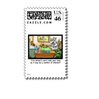 Fluffy Cohen Attorney @ Claw Funny Cat Gifts, etc Postage Stamp