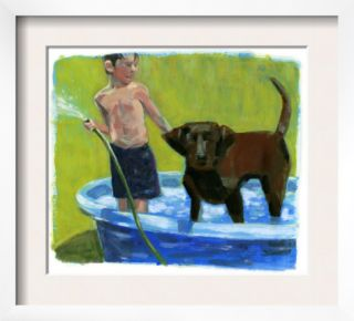 Boy with His Dog in the Pool Pre made Frame