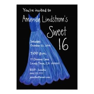 Sweet 16 Birthday Party Invite Blue Dress Template