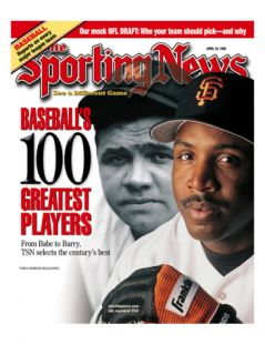 San Francisco Giants OF Barry Bonds and New York Yankees OF Babe Ruth   April 19, 1999 Premium Poster