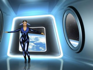 Illustration of a Futuristic Air Hostess Standing in a Spaceship Photographic Print by Victor Habbick