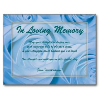In loving memory condolence memorial death Post Cards