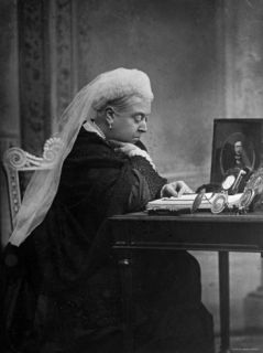 British Monarch Queen Victoria Seated at Her Writing Desk Premium Photographic Print