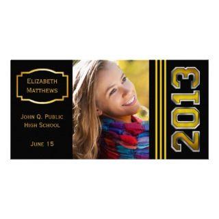 Gold Tone 2013 Name Graduation Photo Photo Card Template