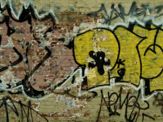 Graffiti Painted on a Brick Wall Photographic Print by Todd Gipstein